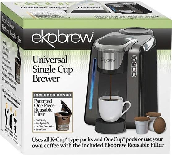 Ekobrew Universal Single Cup Brewer Coffee Machine With Refillable